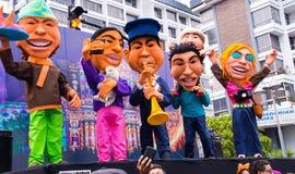 Quito, Equateur - 31 décembre 2016 : Monigotes traditionnels ou simulacres bourrés représentant des personnages politiques, anime Photographie stock