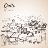 Quito hand drawn sketch. Ecuador. Stock Photography