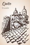 Quito hand drawn sketch. Ecuador. Royalty Free Stock Photos