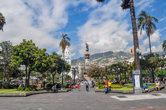 Quito independence monument. QUITO, ECUADOR - MARCH 25, 2016: Quito independence monument, this was located in the center of independence square. Sorrounded by Stock Image