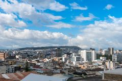 Panoramic view of Belen , Mariscal Sucre and Giron neighborhoods stock images