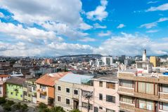 Panoramic view with sun of Quito Ecuador. Quito may 2018 the Belen , Mariscal Sucre and Giron neighborhood they form part of the city center stock photography