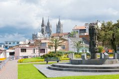 Center of contemporary art park with Basilica view Quito royalty free stock image