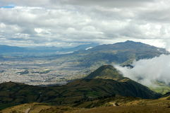 Quito from Pichincha. Pichincha mountain is a small one - only 4,784 m. From there you have breathtaking view of Quito Stock Images