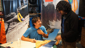 Quito, Pichincha / Ecuador - October 21 2015: Alex Honnold signing autographs at a sporting goods store in the city of Quito stock images