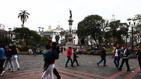 Quito residents flock to the old city stock video