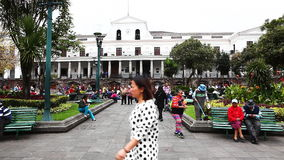 Quito residents flock to the old city on Sunday stock video