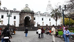 Quito residents flock to the old city on a Sunday stock footage