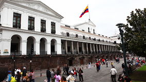 Quito residents flock to the old city on the weekend stock footage