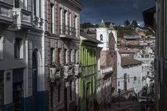 Quito street at sunset, old downtown Royalty Free Stock Photography