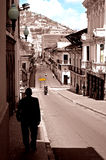 Quito. Streets of quito and a walking misterious person Royalty Free Stock Images