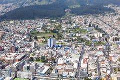 Quito, Universidad Central. Aerial view of north central Quito, and the campus of the Universidad Central del Ecuador stock photography