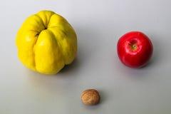 Quitte, Apple und Nuss Stockfoto