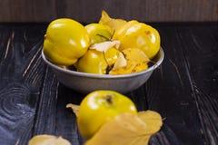 Quitte ist Herbstfrüchte Stockfotos