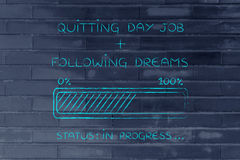Quitting day job following dreams progress bar loading Royalty Free Stock Photography
