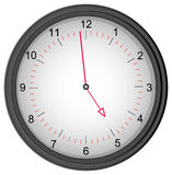 Quitting time. Grey clock showing one minute to five - quitting time stock illustration