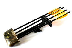 Quiver with Arrows. Archery quiver with 4 arrows with yellow and orange feathers Stock Image
