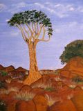 Quiver Tree. Oil on canvas painting of a Quiver tree Stock Photo
