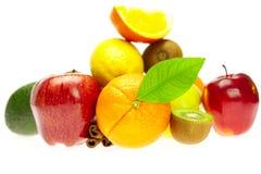 Quivi, abacate, maçãs, laranja, limão, e canela Imagens de Stock Royalty Free