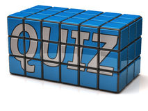 Quiz. Word quiz on blue cubes Stock Photo