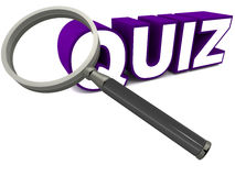 Quiz. Word below a magnifying glass signifying detailed scrutiny and genuine test against some standards Royalty Free Stock Image