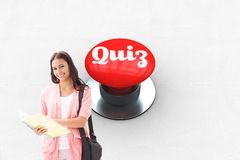 Quiz against digitally generated red push button Stock Image