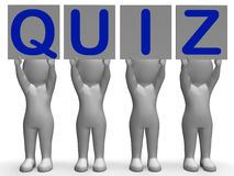 Quiz Banners Means Quiz Games Or Exams. Quiz Banners Meaning Quiz Games Questions Or Exams Royalty Free Stock Photo
