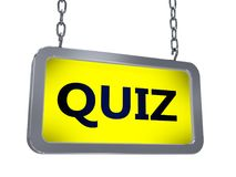 Quiz on billboard. Quiz on yellow light box billboard on white background Stock Images