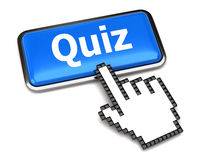 Quiz button and hand cursor Royalty Free Stock Photo