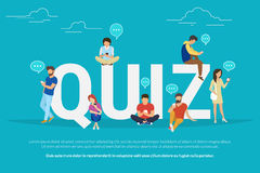 Quiz concept illustration of young people using mobile gadgets. Quiz flat concept illustration of young people using mobile gadgets such smartphone for texting Royalty Free Stock Photo