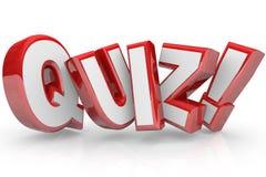 Quiz de Rode 3D Word Beoordeling van het Testexamen Stock Afbeelding