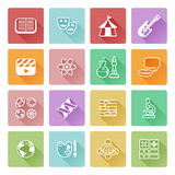 Quiz or education subject icons. Quiz or academic education subject or category icons covering math, sports, music, science, history and lots more Royalty Free Stock Images