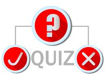 Quiz emblem in flat design with question mark icon, Yes icon and No icon. All icons in red and silver design. Vector EPS 10 Stock Photos