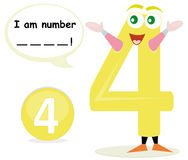 Quiz game with number four. Number four cartoon with speech bubble. This illustration is useful for preschool children who learn the numbers. The child has to Royalty Free Stock Image