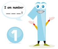 Quiz game with number one. Number one cartoon with speech bubble. This illustration is useful for preschool children who learn the numbers. The child has to stock illustration