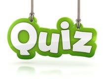 Quiz Green Word Text On White Background Stock Photos