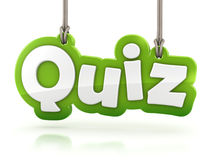 Quiz green word text on white background Stock Photos