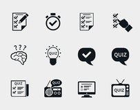 Quiz icon set. Question and answer, questionnaire and information, test and think, document and checklist. Vector illustration Stock Photos
