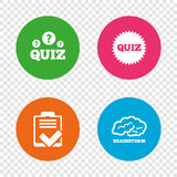 Quiz icons. Checklist and brainstorm symbols. Stock Photography