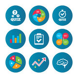 Quiz icons. Checklist and human brain symbols. Royalty Free Stock Images