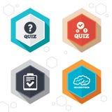 Quiz icons. Checklist and human brain symbols Stock Photos
