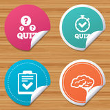 Quiz icons. Checklist and human brain symbols. Royalty Free Stock Photo