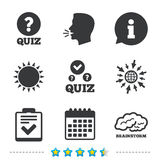 Quiz icons. Checklist and human brain symbols. Quiz icons. Human brain think. Checklist with check mark symbol. Survey poll or questionnaire feedback form sign Stock Photo