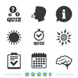 Quiz icons. Checklist and human brain symbols. Quiz icons. Human brain think. Checklist and stopwatch timer symbol. Survey poll or questionnaire feedback form Royalty Free Stock Photo