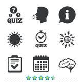 Quiz icons. Checklist and human brain symbols. Quiz icons. Human brain think. Checklist and stopwatch timer symbol. Survey poll or questionnaire feedback form stock illustration