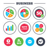 Quiz icons. Speech bubble with check mark symbol. Royalty Free Stock Photos