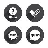 Quiz icons. Speech bubble with check mark symbol Royalty Free Stock Photo