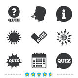 Quiz icons. Speech bubble with check mark symbol. Explosion boom sign. Information, go to web and calendar icons. Sun and loud speak symbol. Vector Royalty Free Stock Image