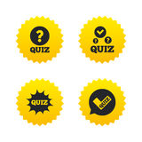 Quiz icons. Speech bubble with check mark symbol Royalty Free Stock Images