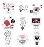 Quiz logo emblems labels design element. Mind games logo. Royalty Free Stock Image